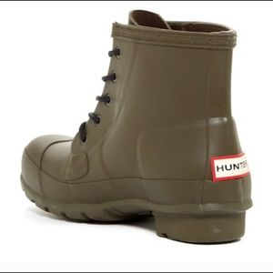 Hunter Original Matte Army Green Lace Up Booties